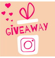 giveaway contest gift box with camera icon vector image vector image