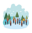 group of people with winter clothes and christmas vector image vector image