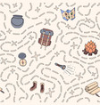 hand drawn camping seamless pattern with vector image