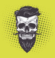 hipster skull pop art vector image