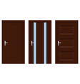 interior doors brown wooden set of designs vector image