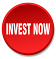 invest now red round flat isolated push button vector image vector image