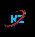 kz k z letter logo design initial letter kz vector image vector image