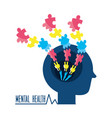 man silhouette with puzzle mental game vector image vector image