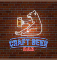neon signboard craft beer with bear vector image vector image