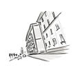 Old district sketch with city road for your design vector image vector image