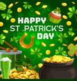 patricks day celebration pot gold and drum vector image vector image