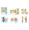 people shopping for clothes in store set clothing vector image