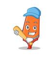 playing baseball highlighter cartoon character vector image