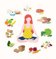 pregnant woman doing yoga in lotus position cute vector image vector image