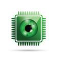 realistic eyeball on a microchip vector image vector image
