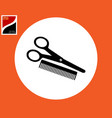 scissors and comb icon vector image