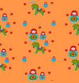 seamless patterns of nesting dolls and horses vector image