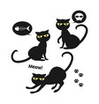 set of halloween black cat vector image