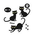 set of halloween black cat vector image vector image