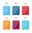 set of six multicolored travel bag vector image vector image