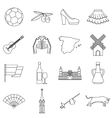 Spain travel icons set outline style vector image vector image