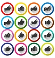 Thumbs up set round buttons vector image vector image