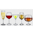 Transparent glasses with drinks vector image vector image