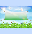 vinyl banners backdrop with white pigeon and ropes vector image vector image
