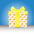 white Gift box with a yellow star pattern tie yell vector image vector image