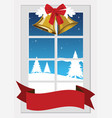 window with christmas decoration vector image vector image
