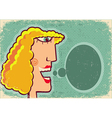 Woman face cartoon with bubble on old poster vector image