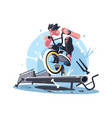 young guy riding bicycle bmx vector image vector image