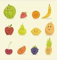 funny cartoon fruits flat vector image