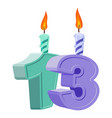 13 years birthday number with festive candle for vector image