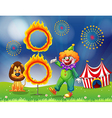 A lion and a clown performing vector image vector image