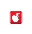 apple with green leaf logo design in shape vector image vector image