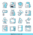 Appliances icons set blue color vector image