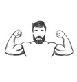 arm bicep strong bearded man hand drawn vector image vector image