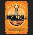 basketball sport game ball and trophy vector image vector image