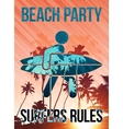 Beach surfers party poster template vector image