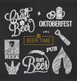 beer sketch set beer glass and bottle vector image vector image