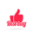 best buy label red color isolated on white vector image vector image