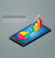 business graph mobile phone vector image vector image