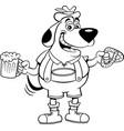 cartoon dog holding a beer mug and a pretzel vector image vector image
