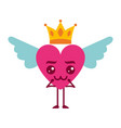 cartoon heart in love kawaii wings and crown vector image