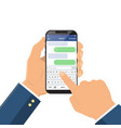 chat message on smartphone screen hand holds vector image vector image