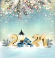 christmas holiday background with a 2021 and gift vector image vector image