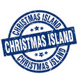 christmas island blue round grunge stamp vector image vector image