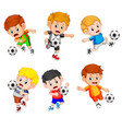 collection of the profesional children play soccer vector image