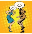 Comic smiley Emoji dancers man woman vector image vector image