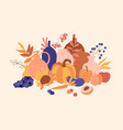 composition with autumn fruits vegetables leaves vector image