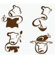cooking symbols and professionals emblems vector image vector image