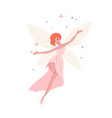 cute fairy in beautiful gown and with red hair vector image vector image
