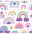 cute nursery rainbow pattern doodle childish vector image vector image